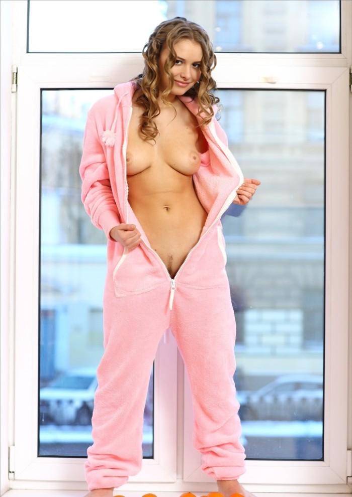 Very sweet girl in pink pajamas