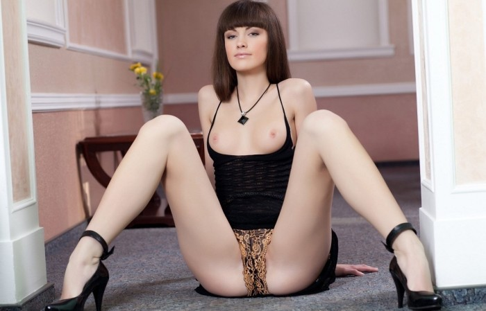 Pretty woman in beautiful lingerie with big pussy