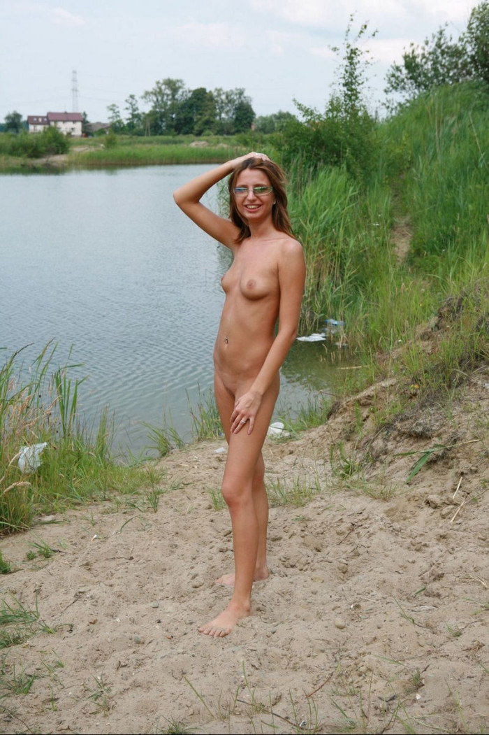 Amateur girl with piercing and sporty body outdoors