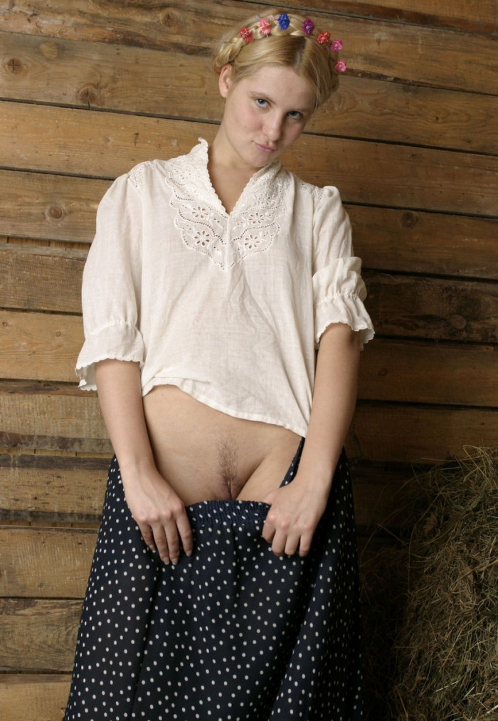 Blonde from the village undresses in the barn