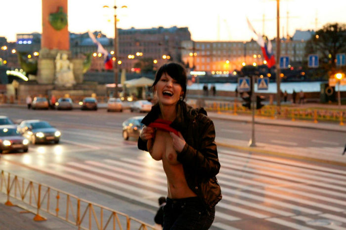 Crazy russian Mila S undressing in very centre of city