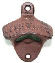 1 X Open Here Rustic Cast Iron Wall Mount Bottle Opener Vintage Looking Beer Opener