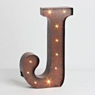"""12″ – Rustic Brown – Metal – Battery Operated – LED – Lighted Letter """"J""""   Gerson Wall Decor (92678)"""