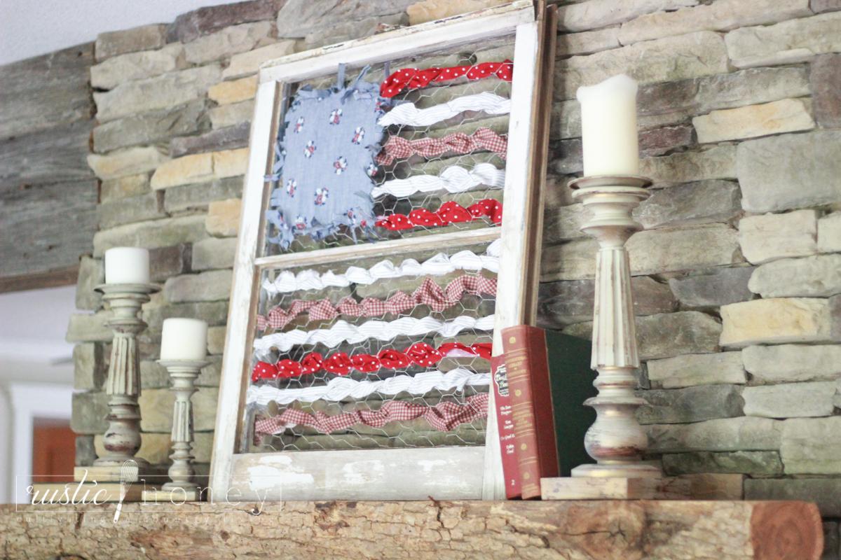 patriotic flag DIY decor fabric scraps 9 of 18 Rustic