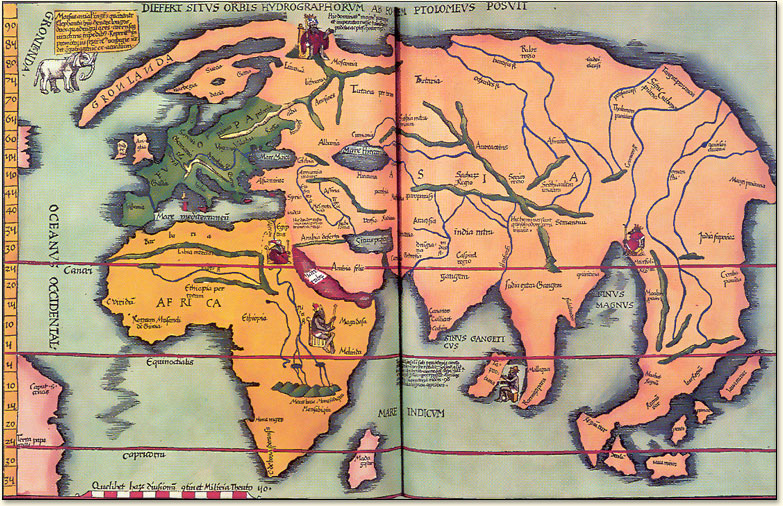 Research Point  Maps   Ruth Arnold Ptolemy  approx A D  85 165  produced a series of world maps  His work was  picked up and reproduced in the 1300s