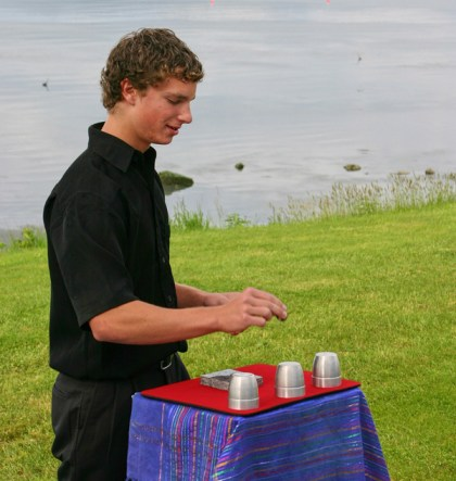 Performing cups and balls on Samish Island