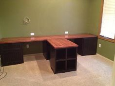 diy office with tshaped countertop and builtin cabinets front desk space for 2 diy