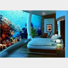 Aquarium Hotel Room in Seattle. I love aquariums. Can't you just feel