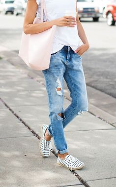 Boyfriend jeans, whi