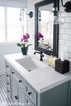 Gray bathroom - The Lily Pad Cottage via Centsational Girl