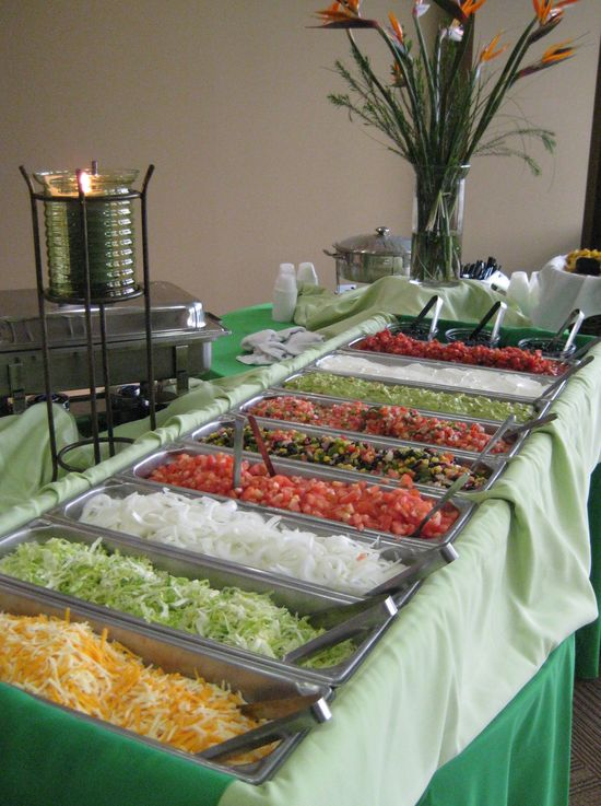 neat idea…Taco bar for the reception ~  easy, affordable, yummy, and fun!