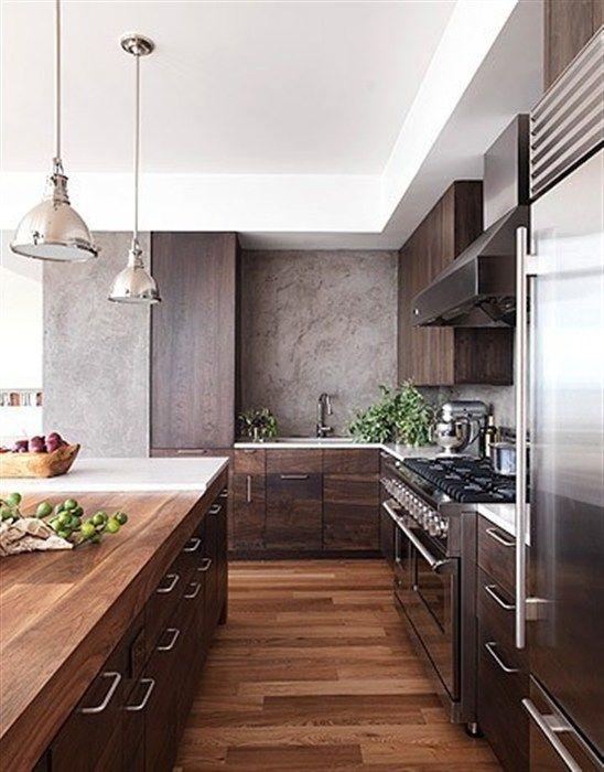 modern kitchen walnut