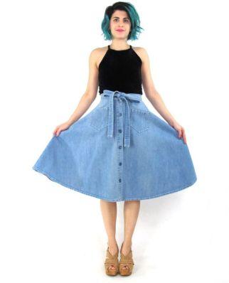 70s Denim Midi Skirt Full Denim Skirt High by honeymoonmuse: