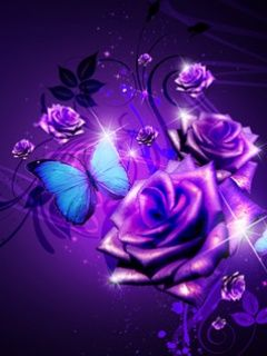 Purple Butterfly neon | Cool Purple Rose And Butterfly Cell Phone Wallpapers 240x320 Hd ...