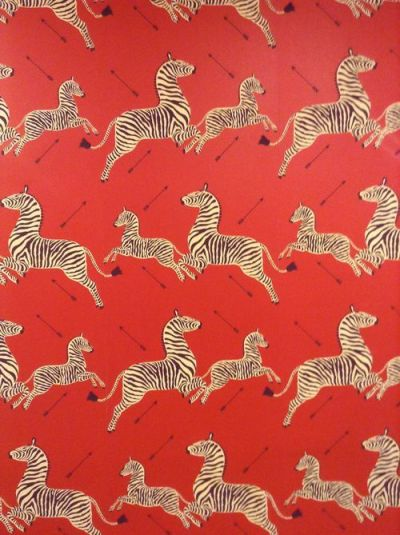 Scalamandre wallpaper with arrows from the Royal Tenenbaums. I am feeling very compelled to use ...