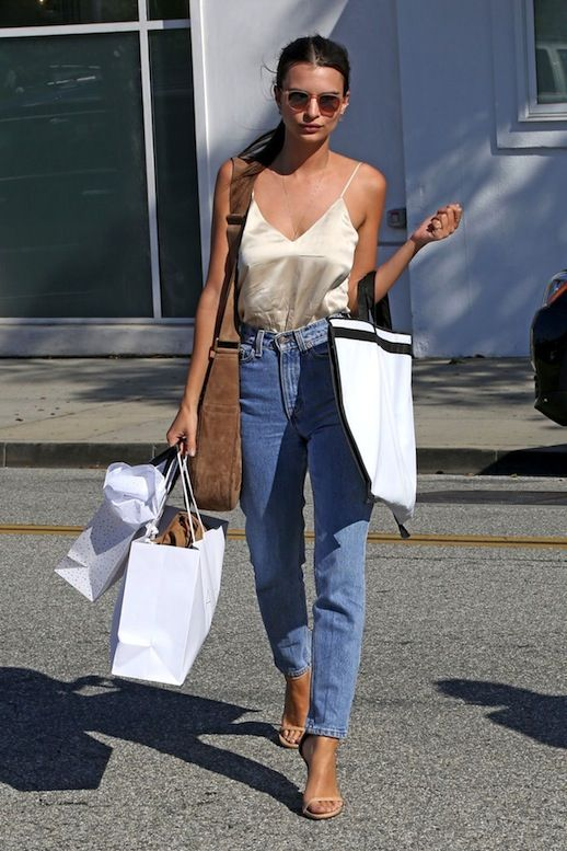 Emily Ratajkowski's LA cool girl look with high waisted boyfriend jeans and a silky slip top: