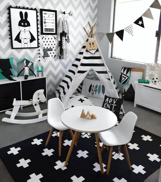 """Switched Hudson's nursery and playroom around for some more space ➕ New Swiss Cross rug from @kmartaus #monochrome #playroom #toyroom #boysroom #kidsroom…"":"