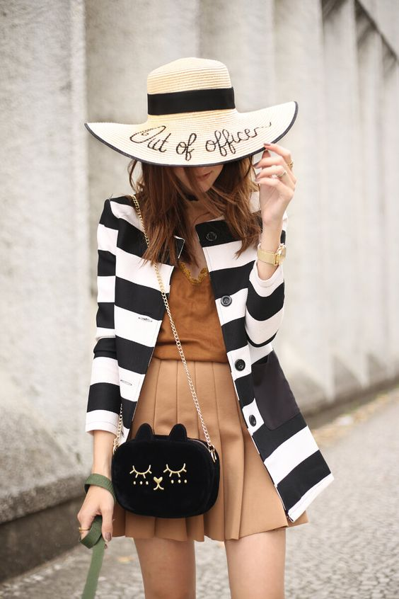 Weekend outfits asks for comfy pieces but still with style. So I chose a black and white striped coat with camel skirt and oxfords.: