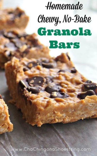 Homemade Chewy, No-Bake Granola Bars Recipe   Homemade, Kid lunches and Granola bar recipes