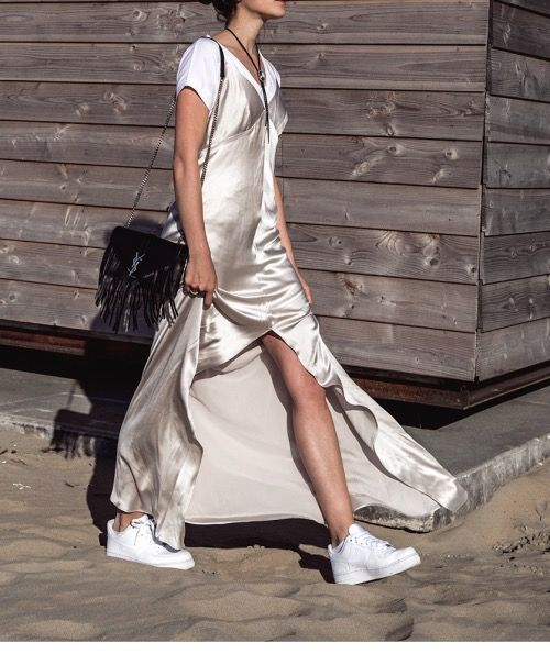 silky slip gown over a t-shirt + worn with sneakers @stylecaster: