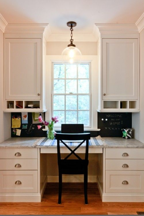 Kitchen Office Space  Love The Window These Desks Are Usually In A Dark Corner  Dream Home Pinterest Built Desk Nooks And  O