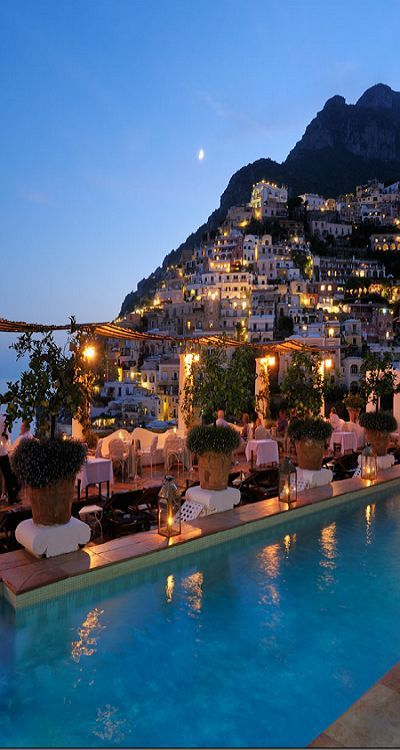 What a view! Positano, Italy is looking beautiful at dusk.: