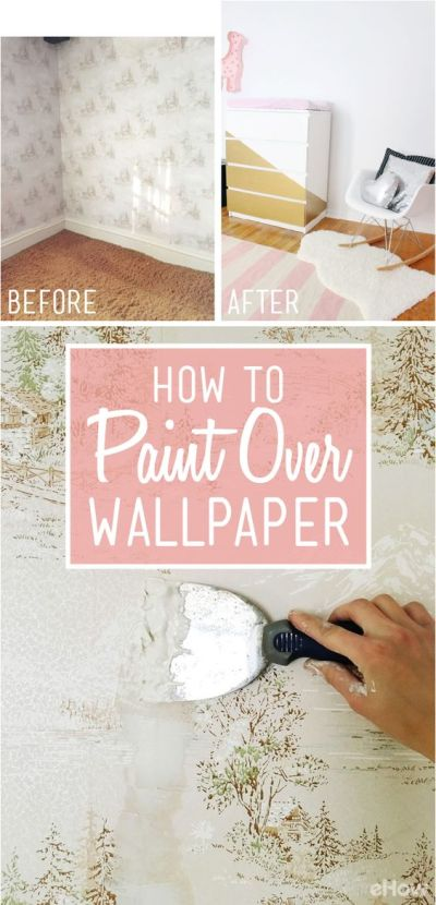 How to Easily Apply Paint Over Hard to Remove Wallpaper | Remove wallpaper, Offices and To remove