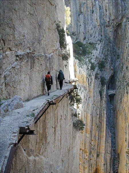 Just another morning stroll? :: El Camino del Rey (Kings pathway) - Málaga, Spain. The walkway is one metre (3 feet and 3 inches) in width, and rises over 100 metres (350 feet) above the river below.: