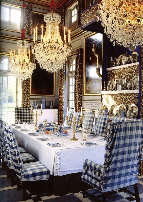 Checked fabric in grand interior spaces:
