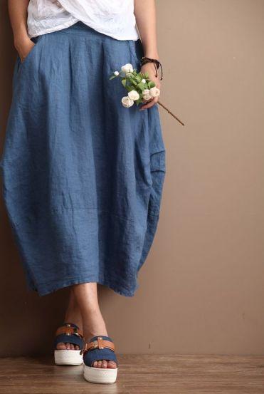Linen Long Skirt Blue Women Clothing Maxi Skirt R by deboy2000: