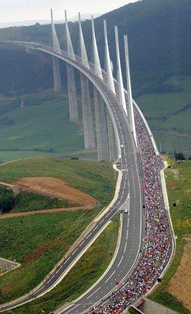 The tallest bridge in the world - the Millau Bridge, France: