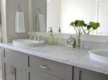 charcoal cabinets, carrera marble counter in bathroom - Google Search: