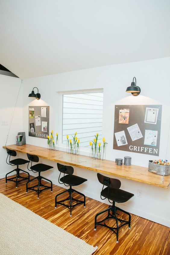 "Kid's Modern homework area, for multiple kids Fixer Upper: Bringing a Modern Coastal Look to a ""Faceless Bunker"" 
