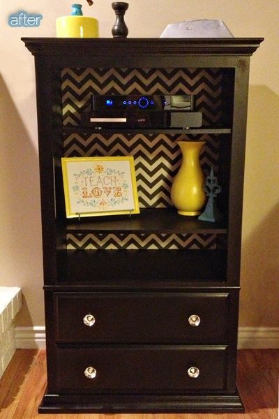 Thrifted dresser with missing drawers, add shelves, wall paper inside. Very | http ...
