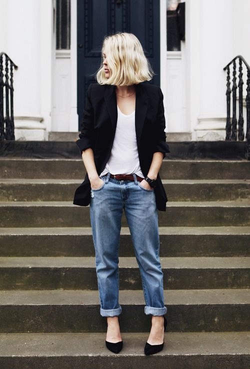 Boyfriend jeans + white top + black jacket -- I love this, its effortlessly chic... and that blazer can be swapped out for a moto jacket anytime: