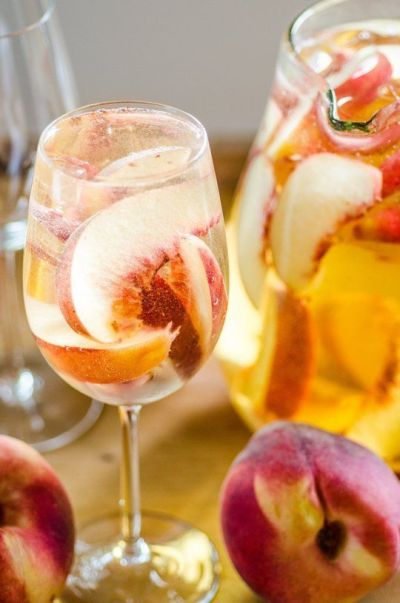 White peach sangria, Summer and Happy on Pinterest