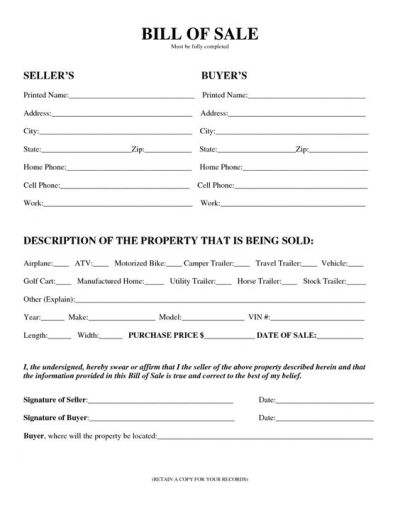 Printable Sample Champer Bill of Sale Form   Laywers Template Forms Online   Pinterest   Rv ...
