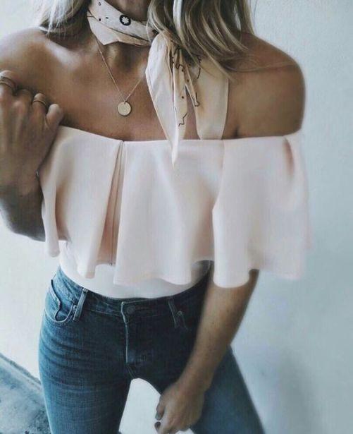 Hermosa blusa de cuello bote con bolados #muysexy: