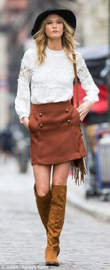 Image result for Karlie Kloss brown skirt buttoned