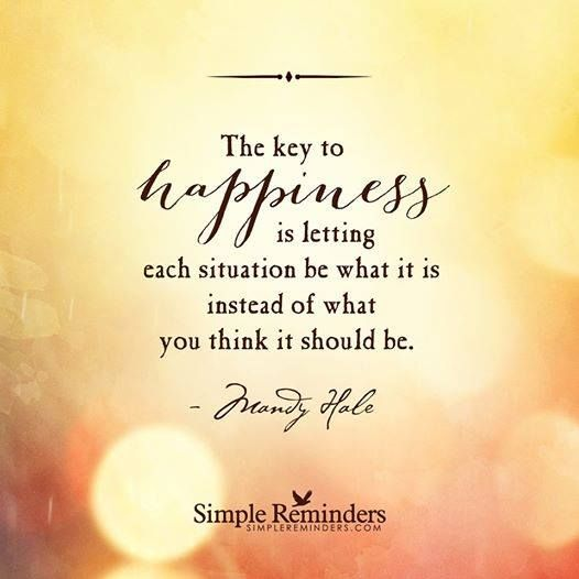 The key to happiness is letting each situation be what it is instead of what you think it should be - Mandy Hale: