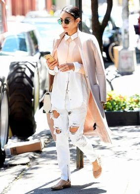 Image result for vanessa hudgens Buttoned down shirt with ripped jeans