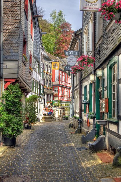 Lovely streets of Monschau, Eifel, Germany - walking through villages like this was so surreal. I loved it. So much history...: