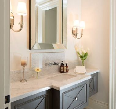 traditional powder room with floating vanity Small Baths with Big Impact: