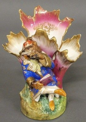 Colorful French Porcelain Spill Vase, 19th C., Wi: