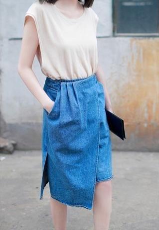 Draped Denim Midi Skirt: