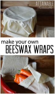 Reusable beeswax wraps can help you eliminate plastic waste in your kitchen. Here are step by step instructions on how to make your own. Great for your zero waste kitchen and for gifts, too!: