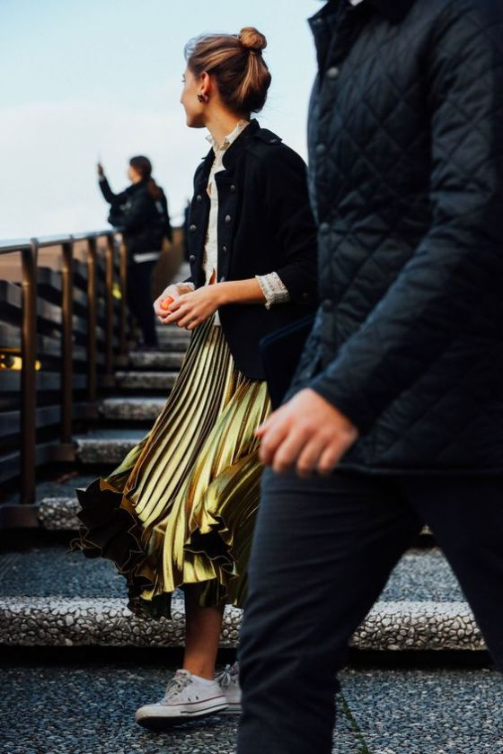 This pleated liquid gold skirt is the dream: