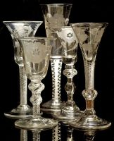 "Jacobite Glasses, 18th century most often used for toasting Prince Charles Edward Stuart (""Bonnie Prince Charlie""). The Jacobites were supporters of the exiled King James II who abdicated in 1698, and of his descendants James Edward Stuart (the ""Old Pretender"") and his son Charles Edward Stuart (the ""Young Pretender"").:"
