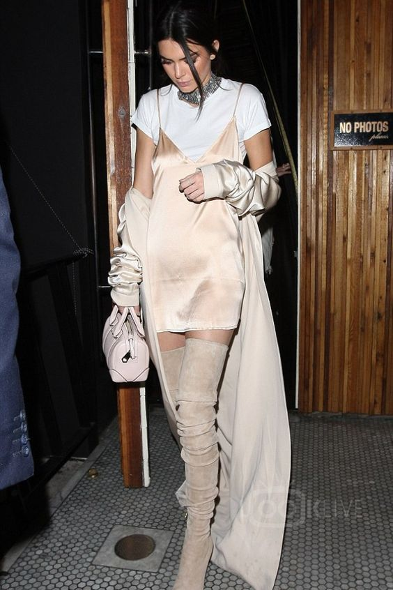 Kendall Jenner wearing  Are you am i  Zillah Slip Dress, August Getty Atelier SS16 Long Trench Coat in Silk Crepe, Givenchy Leather Micro Lucrezia Duffle Bag, Are you am i  Riley Baby Tee: