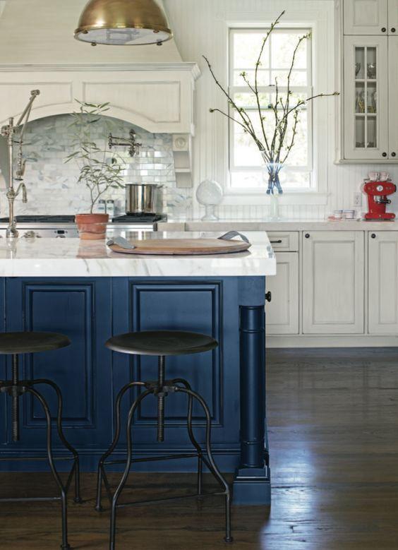 Dark Blue Kitchen Island- Mary McDonald via Santa Barbara Design House: